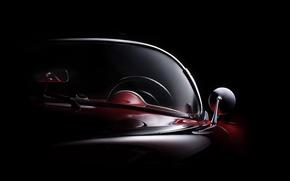 Picture mirror, curves, form, body, windshield, fine art photography, 1954 Corvette