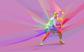 Wallpaper the game, the ball, racket, tennis, tennis player, low poly