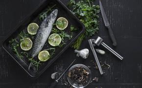 Picture Greens, Lemon, Fish, garlic, Seasoning