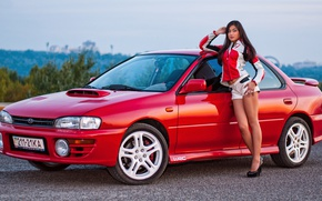 Picture look, girl, Girls, Subaru, hairstyle, red car