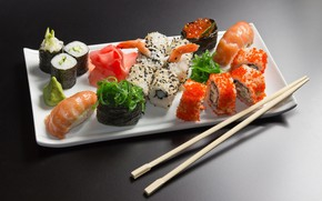Picture food, fish, mix, figure, caviar, sushi, rolls, seafood