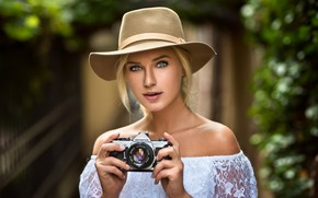 Picture girl, hat, photo, photographer, blue eyes, camera, model, beauty, lips, face, blonde, shirt, portrait, mouth, …