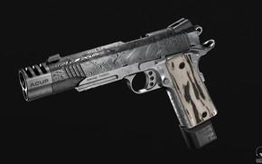 Picture gun, weapons, gun, weapon, engraving, custom, custom, M1911, M1911 pistol, engraving, Kimber, Kimber, 3D Wren, …