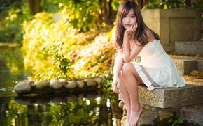 Picture girl, pond, hair, dress, legs, Asian