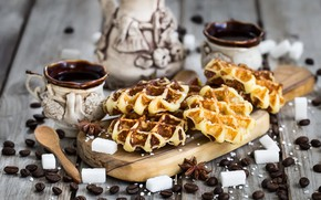 Picture coffee, grain, Cup, sugar, waffles, star anise