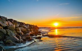 Wallpaper stones, shore, dawn, sea