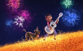 Wallpaper dog, Disney, stars, salute, cartoon, The Mystery Of Coco, Miguel, fantasy, field, PIXAR, guitar, the ...