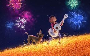 Picture field, the sky, cartoon, guitar, dog, stars, salute, boy, fantasy, Disney, PIXAR, Coco, The Mystery …