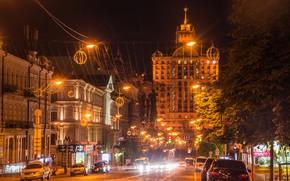 Picture road, trees, machine, night, lights, home, lights, Ukraine, street, Kiev