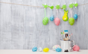 Picture Easter, wood, spring, Easter, eggs, decoration, Happy, tender