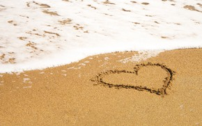 Picture sand, sea, wave, beach, summer, love, heart, summer, love, beach, sea, heart, romantic, sand, wave