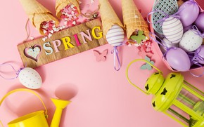 Picture butterfly, background, pink, eggs, spring, Easter, horn, pink, spring, Easter, eggs, decoration, Happy, waffle
