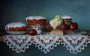 Wallpaper spring, cakes, still life, chicken, eggs, Easter
