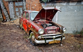 Picture machine, scrap, Moskvich 407, happiness is near