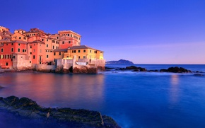 Picture lights, home, Bay, Italy, Genoa, Boccadasse