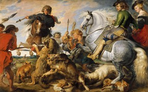 Picture picture, genre, Peter Paul Rubens, Pieter Paul Rubens, Hunting for wolves and Foxes