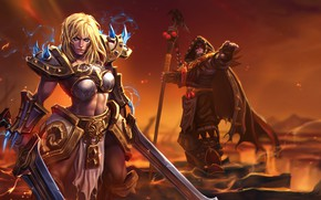 Picture Sonya, blonde, belly, World of Warcraft, rod, fantasy art, digital art, weapons, cape, artwork, hood, ...