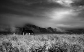Picture field, fog, temple