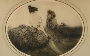 Picture 1921, art Deco, Louis Ikar, Seduction, etching and akvatin