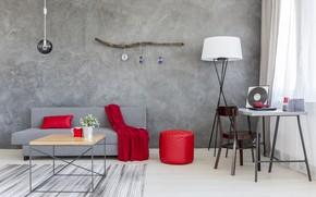 Wallpaper red, grey, sofa, interior, silk, House