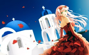 Picture girl, red dress, Darling In The Frankxx, Cute in France