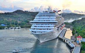Picture ship, Marina, panorama, liner