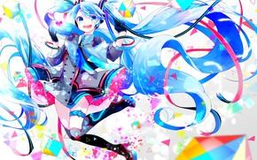 Picture girl, anime, art, Hatsune Miku, Vocaloid, Vocaloid, Hatsune Miku