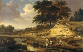 Wallpaper Ian Vanants, Landscape with a Horseman and a Horse Drinking Water, oil, picture, tree