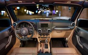 Picture the wheel, salon, dashboard, Wrangler, Jeep
