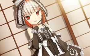 Picture Ruski, gloves, bows, black dress, bow, lace, art, bangs, visual novel, cura, monobeno, sumi, Lolly