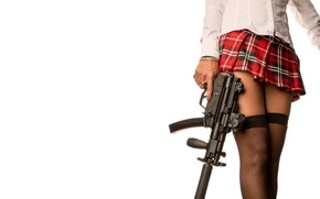Picture girl, skirt, stockings, machine, legs