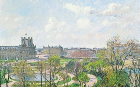 Picture landscape, the city, Park, Paris, picture, Camille Pissarro, The Tuileries Garden. Morning. Spring