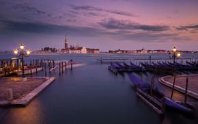 Wallpaper Venetian lagoon, Italy, lights, Venice, pier, San Giorgio Maggiore, the evening, Laguna, San Giorgio Maggiore, ...