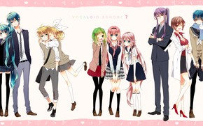 Picture background, anime, art, Vocaloid, Vocaloid, characters, couples