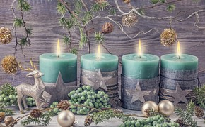 Picture decoration, balls, candles, New Year, Christmas, gifts, happy, Christmas, vintage, New Year, Merry Christmas, Xmas, …