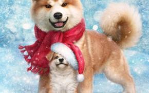 Wallpaper New year, puppy, dogs, cap, snowflakes, scarf, Akita inu, bird, bullfinch