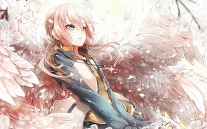 Picture girl, anime, Sakura, art, angel. wings. spring