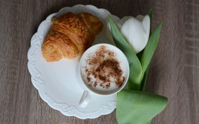Picture white, flower, close-up, Tulip, plate, Cup, drink, cappuccino, bokeh, croissant