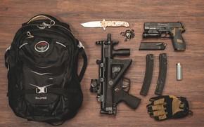 Picture gun, lighter, knife, machine, cross, satchel, clips