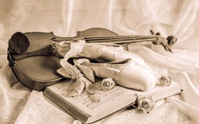 Wallpaper vintage, roses, violin, notes, Pointe shoes, tape, still life