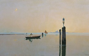 Picture boat, oil, picture, canvas, seascape, Richard Bergholz, The lagoon in Murano