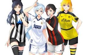 Picture girls, anime, art, rwby, ruby rose, yang xiao long, blake belladonna, white snow