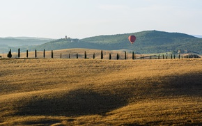 Picture Italy, countryside, Tuscany, balloon