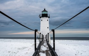 Picture nature, lighthouse, Lake Michigan