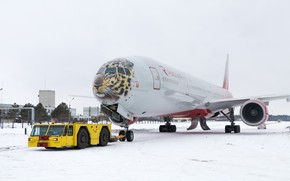 Picture Winter, Tiger, Snow, Airport, Boeing, Russia, Boeing, 300, 777, The plane, Passenger, B-777, B777