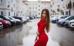 Picture road, wet, pose, rain, overcast, model, portrait, home, wet, makeup, figure, dress, hairstyle, brown hair, …