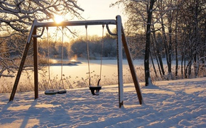 Picture winter, snow, swing, morning