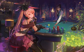 Picture look, girl, art, hall, casino, Fate / Grand Order