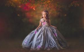 Picture autumn, dress, girl, bokeh