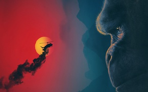 Picture cinema, red, moon, monster, smoke, big, blue, night, movie, helicopter, gorilla, film, king, strong, kyojin, …
